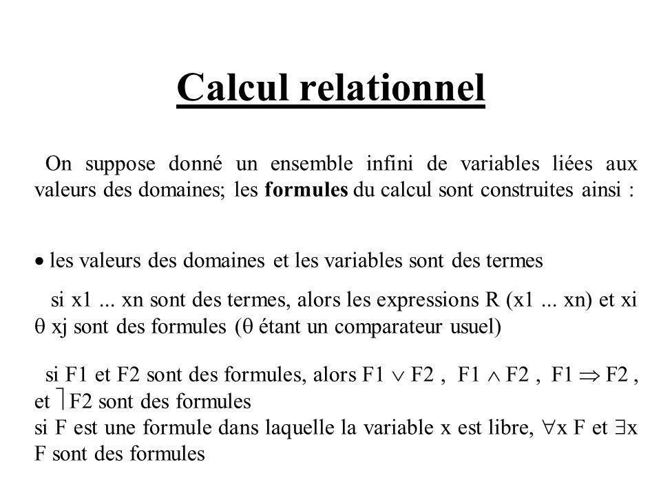 Calcul relationnel On suppose donné un ensemble infini de variables liées aux valeurs des domaines; les formules du calcul sont construites ainsi : les valeurs des domaines et les variables sont des termes si x1...
