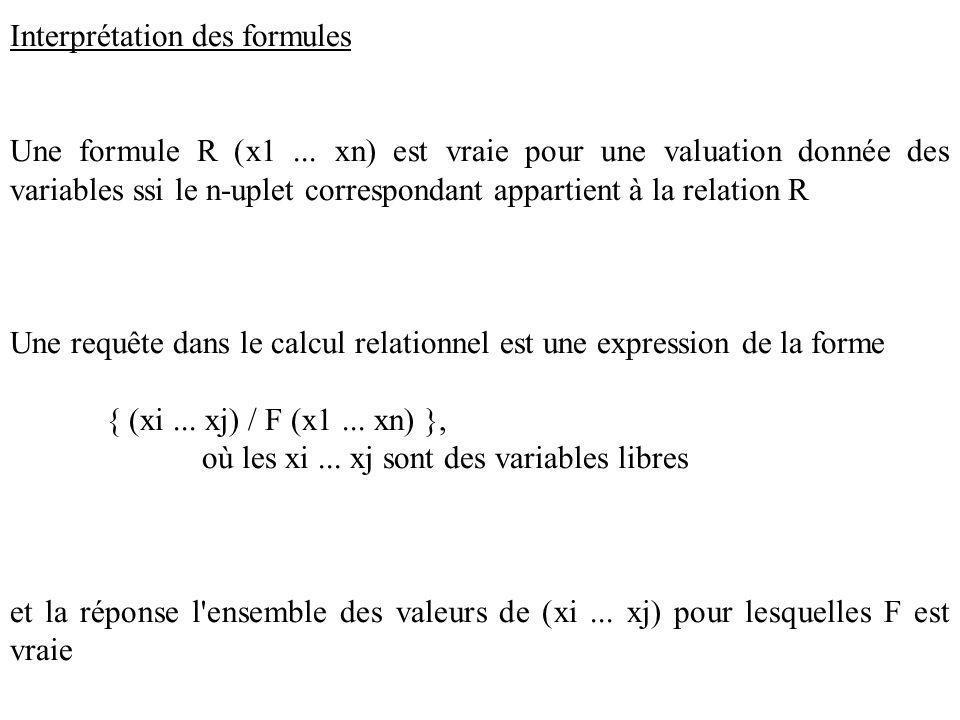Interprétation des formules Une formule R (x1...
