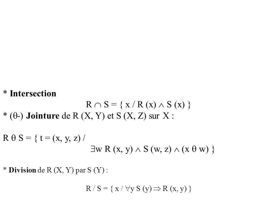 * Intersection R S = { x / R (x) S (x) } * ( -) Jointure de R (X, Y) et S (X, Z) sur X : R S = { t = (x, y, z) / w R (x, y) S (w, z) (x w) } * Division de R (X, Y) par S (Y) : R / S = { x / y S (y) R (x, y) }