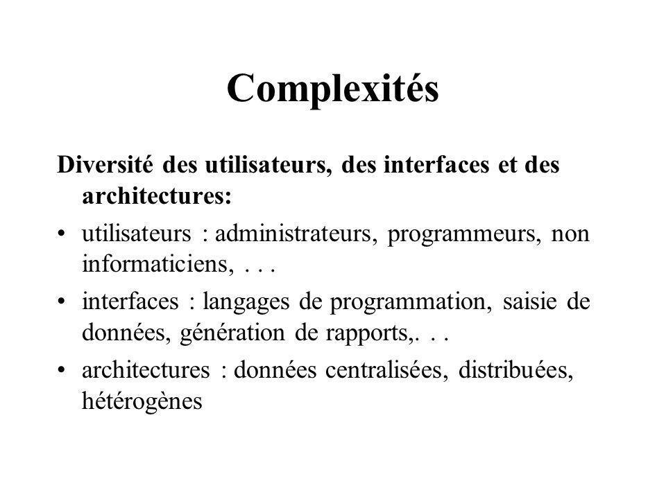 Complexités Diversité des utilisateurs, des interfaces et des architectures: utilisateurs : administrateurs, programmeurs, non informaticiens,...