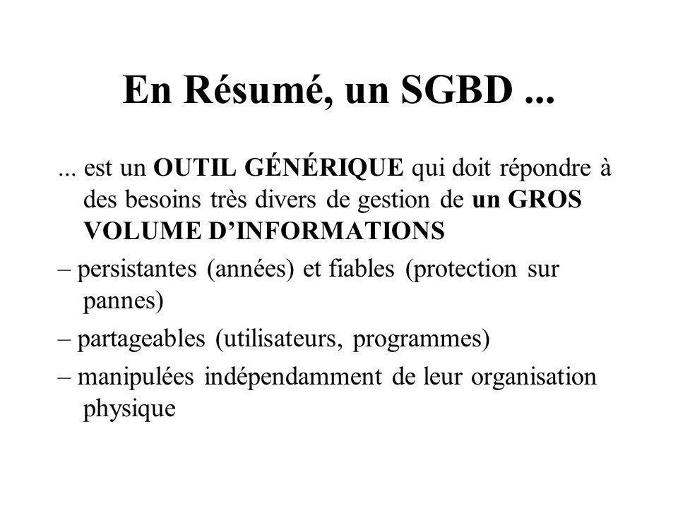 En Résumé, un SGBD......