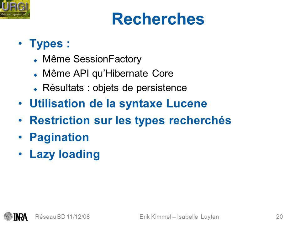 Erik Kimmel – Isabelle Luyten Recherches Types : Même SessionFactory Même API quHibernate Core Résultats : objets de persistence Utilisation de la syn