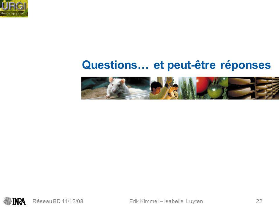Erik Kimmel – Isabelle Luyten Réseau BD 11/12/0822 Questions… et peut-être réponses