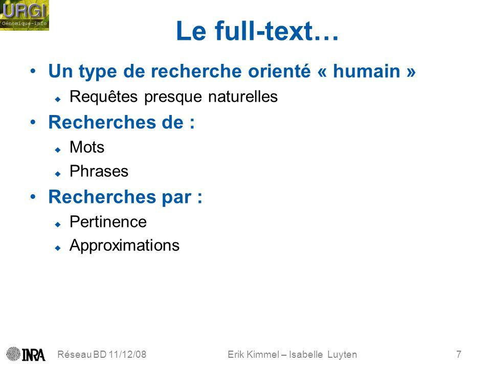 Erik Kimmel – Isabelle Luyten Le full-text… Un type de recherche orienté « humain » Requêtes presque naturelles Recherches de : Mots Phrases Recherche
