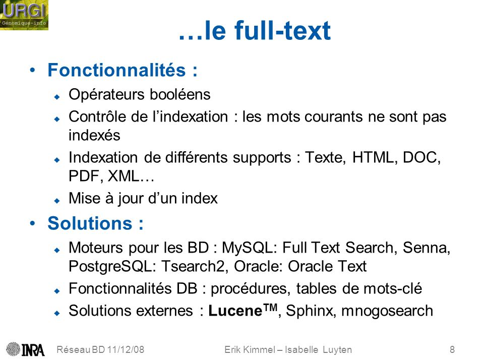 Erik Kimmel – Isabelle Luyten …le full-text Fonctionnalités : Opérateurs booléens Contrôle de lindexation : les mots courants ne sont pas indexés Indexation de différents supports : Texte, HTML, DOC, PDF, XML… Mise à jour dun index Solutions : Moteurs pour les BD : MySQL: Full Text Search, Senna, PostgreSQL: Tsearch2, Oracle: Oracle Text Fonctionnalités DB : procédures, tables de mots-clé Solutions externes : Lucene TM, Sphinx, mnogosearch Réseau BD 11/12/088