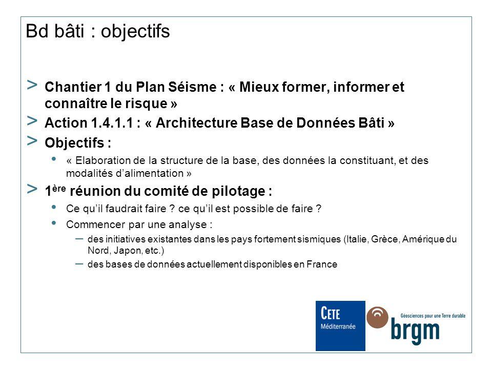 Bd bâti : objectifs > Chantier 1 du Plan Séisme : « Mieux former, informer et connaître le risque » > Action 1.4.1.1 : « Architecture Base de Données