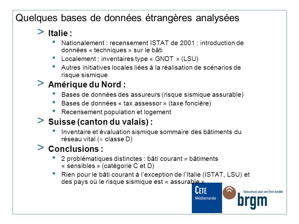 Quelques bases de données étrangères analysées > Italie : Nationalement : recensement ISTAT de 2001 : introduction de données « techniques » sur le bâ