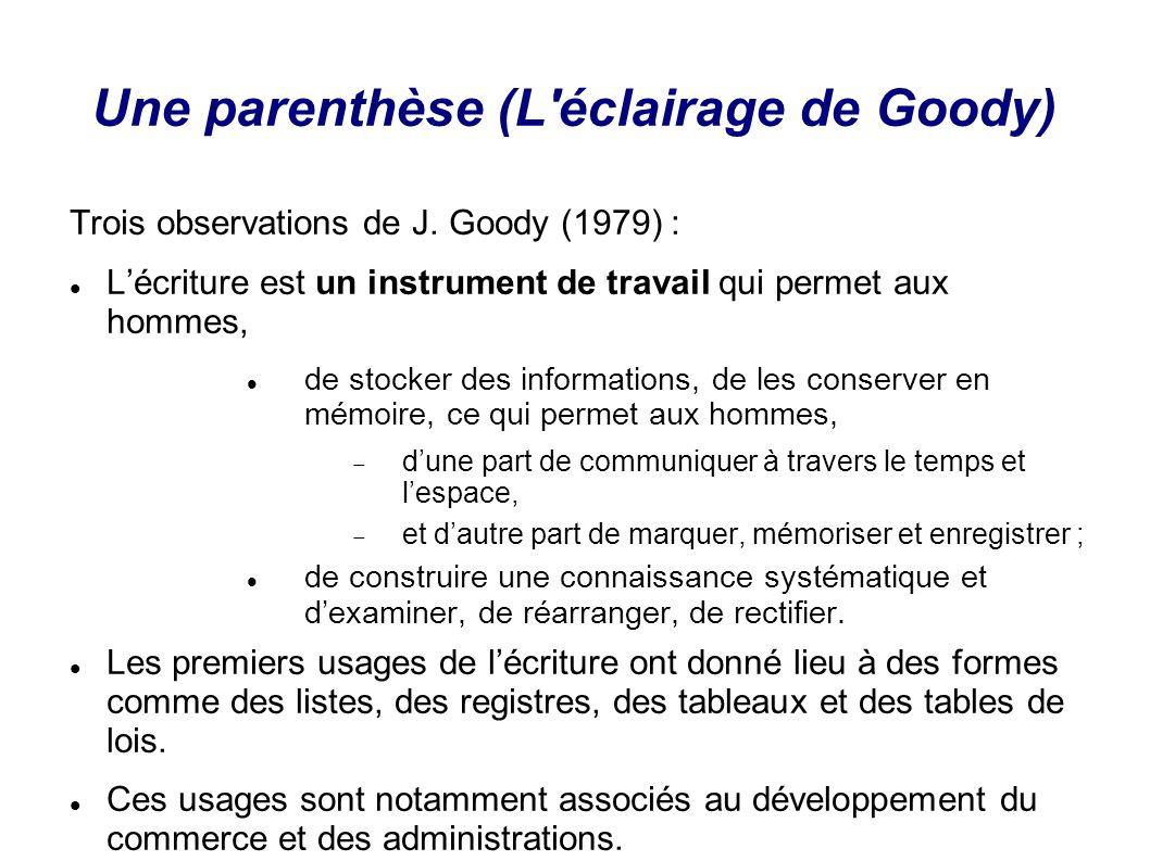 Une parenthèse (L'éclairage de Goody) Trois observations de J. Goody (1979) : Lécriture est un instrument de travail qui permet aux hommes, de stocker