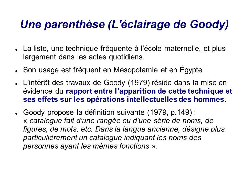Une parenthèse (L'éclairage de Goody) La liste, une technique fréquente à lécole maternelle, et plus largement dans les actes quotidiens. Son usage es