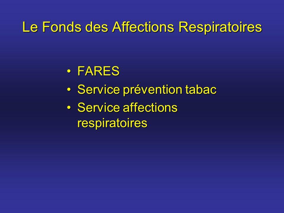Le Fonds des Affections Respiratoires FARESFARES Service prévention tabacService prévention tabac Service affections respiratoiresService affections r