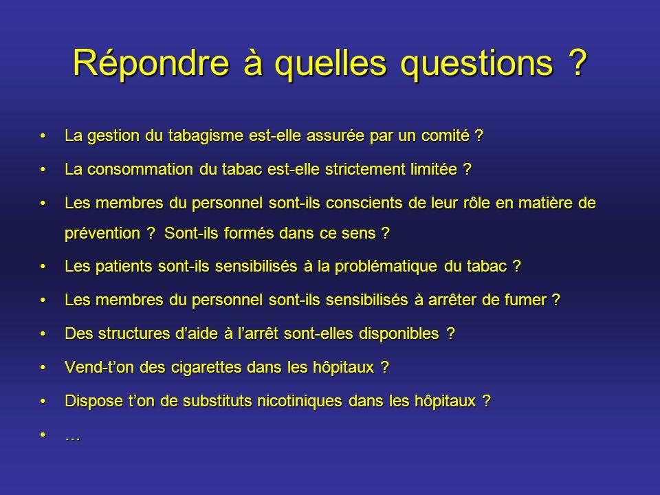 Répondre à quelles questions ? La gestion du tabagisme est-elle assurée par un comité ?La gestion du tabagisme est-elle assurée par un comité ? La con