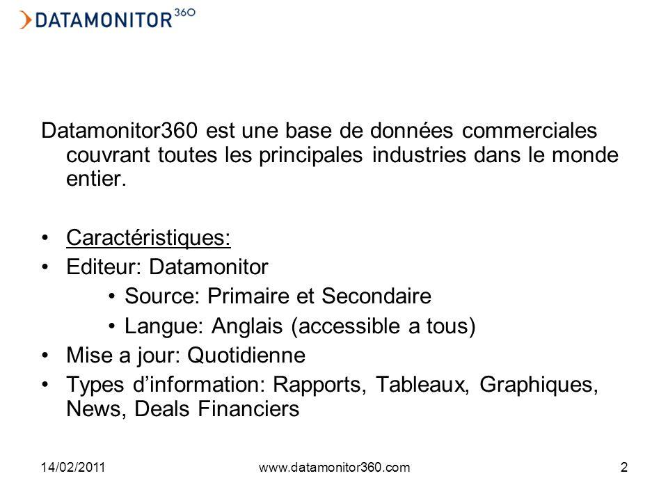 14/02/2011www.datamonitor360.com2 Datamonitor360 est une base de données commerciales couvrant toutes les principales industries dans le monde entier.