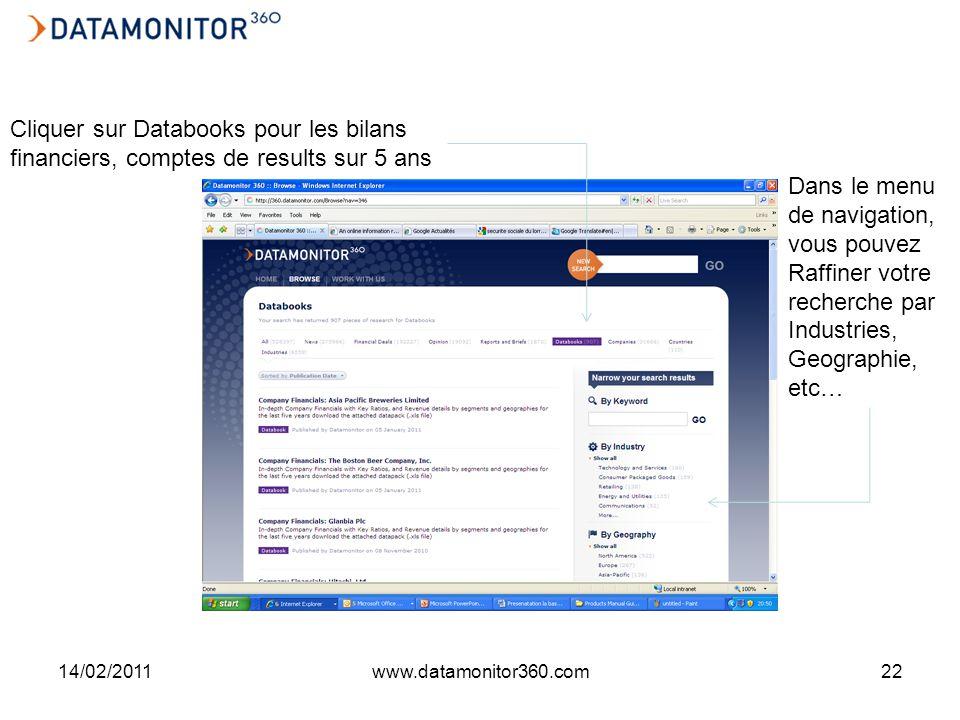 14/02/2011www.datamonitor360.com22 Cliquer sur Databooks pour les bilans financiers, comptes de results sur 5 ans Dans le menu de navigation, vous pouvez Raffiner votre recherche par Industries, Geographie, etc…