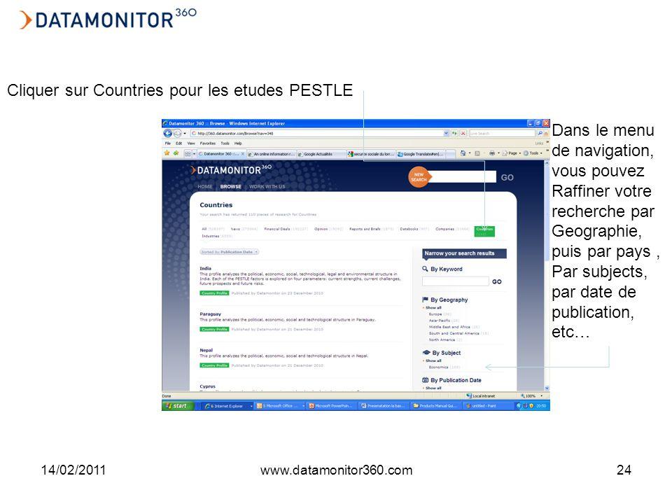 14/02/2011www.datamonitor360.com24 Cliquer sur Countries pour les etudes PESTLE Dans le menu de navigation, vous pouvez Raffiner votre recherche par Geographie, puis par pays, Par subjects, par date de publication, etc…