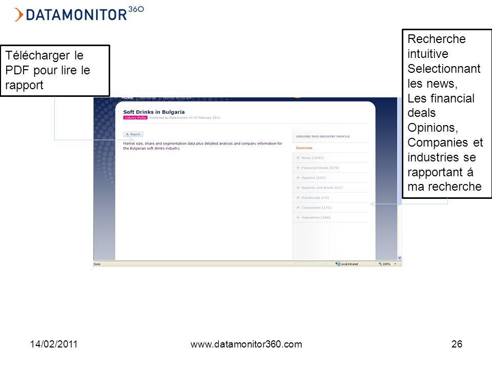 14/02/2011www.datamonitor360.com26 Télécharger le PDF pour lire le rapport Recherche intuitive Selectionnant les news, Les financial deals Opinions, Companies et industries se rapportant á ma recherche