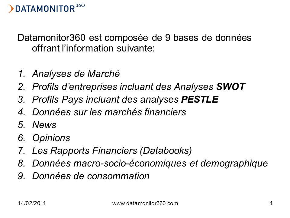 14/02/2011www.datamonitor360.com4 Datamonitor360 est composée de 9 bases de données offrant linformation suivante: 1.Analyses de Marché 2.Profils dentreprises incluant des Analyses SWOT 3.Profils Pays incluant des analyses PESTLE 4.Données sur les marchés financiers 5.News 6.Opinions 7.Les Rapports Financiers (Databooks) 8.Données macro-socio-économiques et demographique 9.Données de consommation