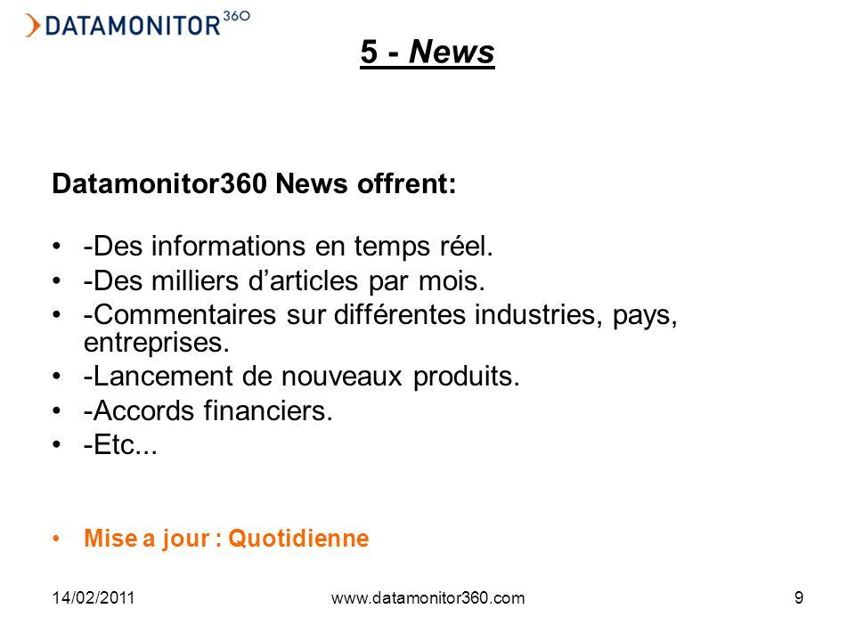 14/02/2011www.datamonitor360.com9 5 - News Datamonitor360 News offrent: -Des informations en temps réel. -Des milliers darticles par mois. -Commentair