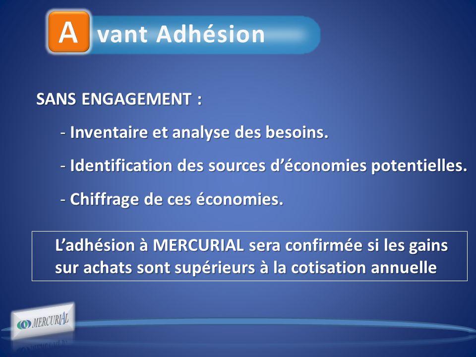 vant Adhésion SANS ENGAGEMENT : - Inventaire et analyse des besoins.