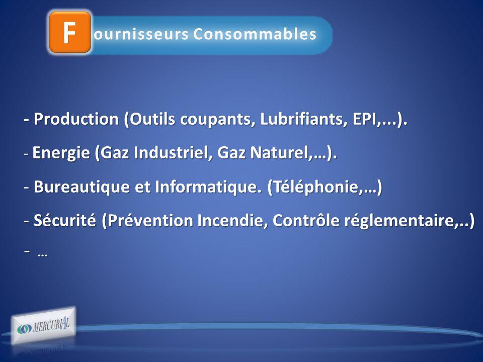 ournisseurs Consommables - Production (Outils coupants, Lubrifiants, EPI,...).