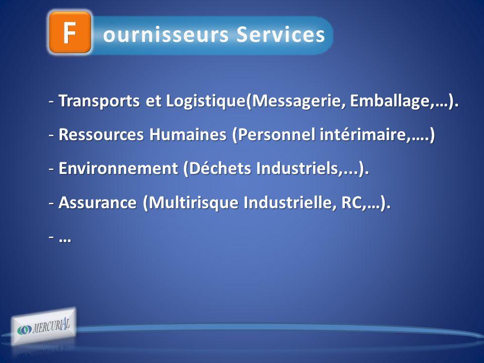 ournisseurs Services - Transports et Logistique(Messagerie, Emballage,…).