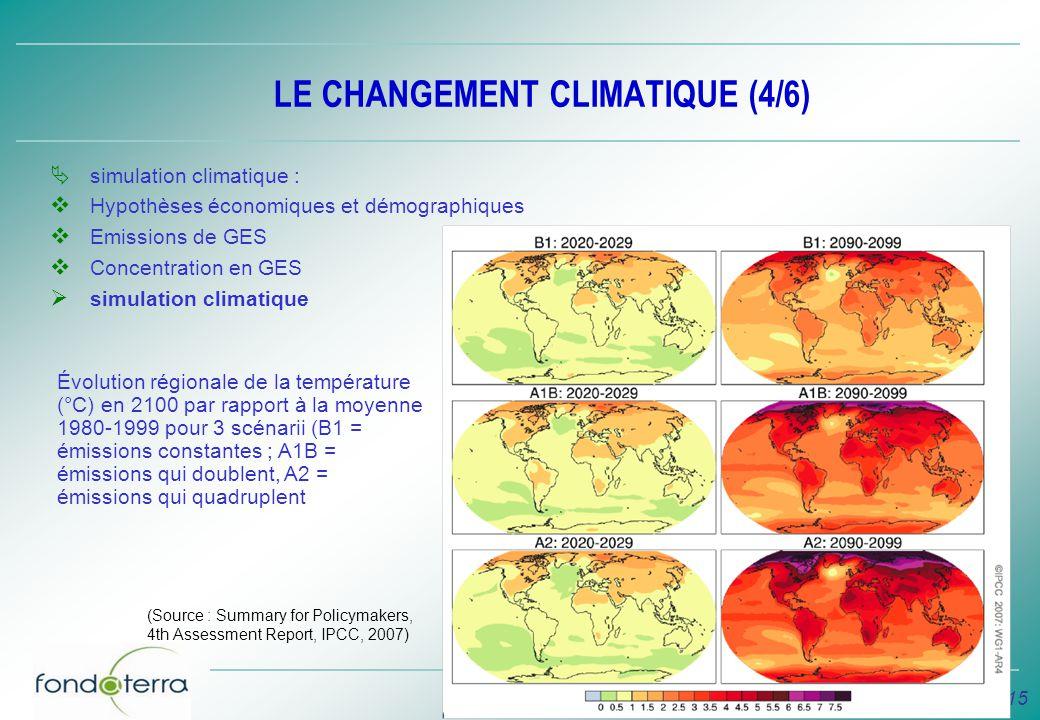 15 LE CHANGEMENT CLIMATIQUE (4/6) simulation climatique : Hypothèses économiques et démographiques Emissions de GES Concentration en GES simulation cl