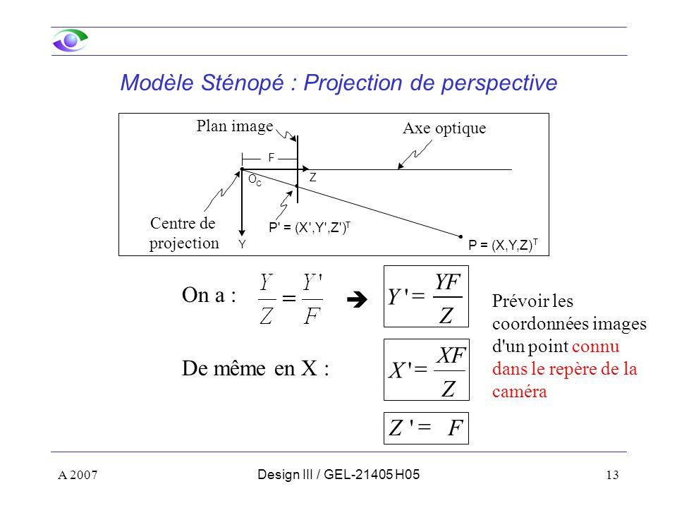 A 200713Design III / GEL-21405 H05 Y Z Axe optique Plan image Centre de projection O C P = (X,Y,Z) T P = (X ,Y ,Z ) T F Z XF X FZ Z YF Y De même en X : On a : Modèle Sténopé : Projection de perspective Prévoir les coordonnées images d un point connu dans le repère de la caméra