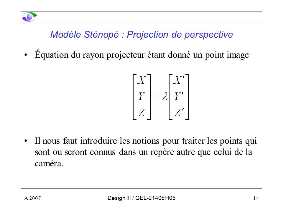 A 200714Design III / GEL-21405 H05 Équation du rayon projecteur étant donné un point image Il nous faut introduire les notions pour traiter les points qui sont ou seront connus dans un repère autre que celui de la caméra.