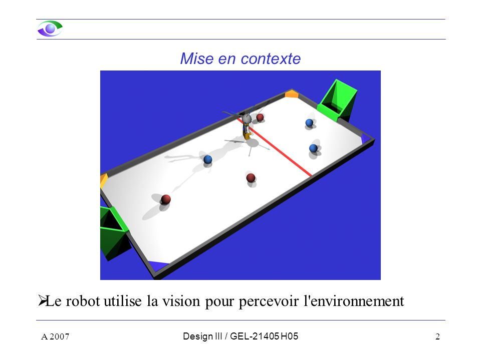 A 200753Design III / GEL-21405 H05 Étalonnage de votre caméra : Utilisation des paramètres : Calcul des points 3D Le point 3D se trouve à l intersection de trois plans L intersection est donnée par : avec En développant, on obtient :
