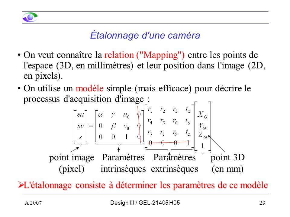 A 200729Design III / GEL-21405 H05 Étalonnage d une caméra On veut connaître la relation ( Mapping ) entre les points de l espace (3D, en millimètres) et leur position dans l image (2D, en pixels).