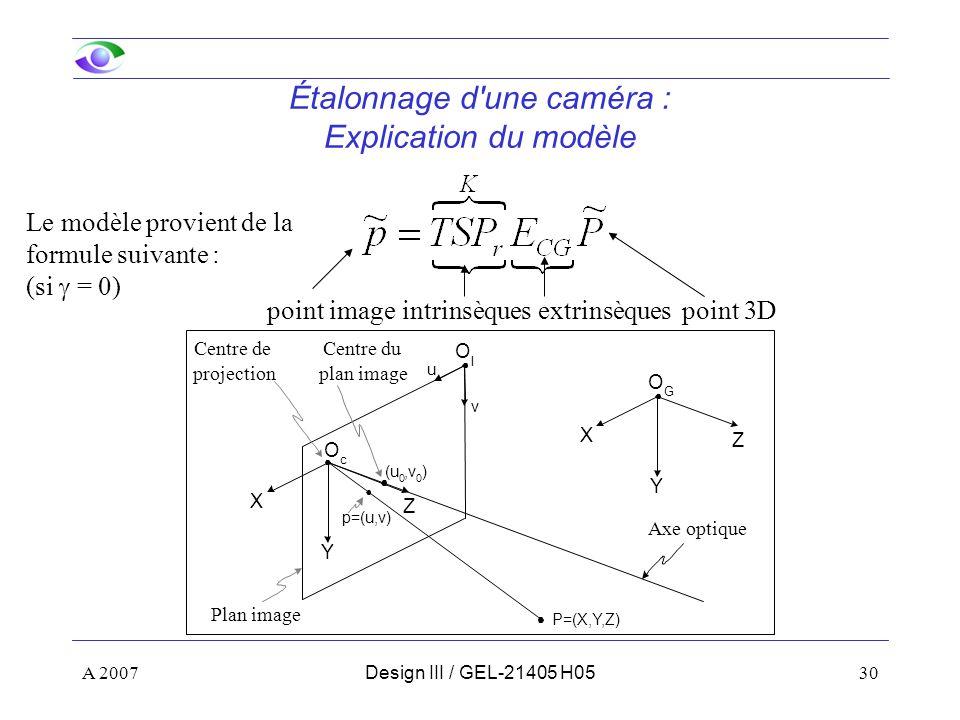 A 200730Design III / GEL-21405 H05 Étalonnage d une caméra : Explication du modèle intrinsèquesextrinsèquespoint 3Dpoint image Le modèle provient de la formule suivante : (si = 0) Z Y X u v O I O c Z Y X O G (u 0,v 0 ) p=(u,v) P=(X,Y,Z) Centre de projection Axe optique Centre du plan image Plan image