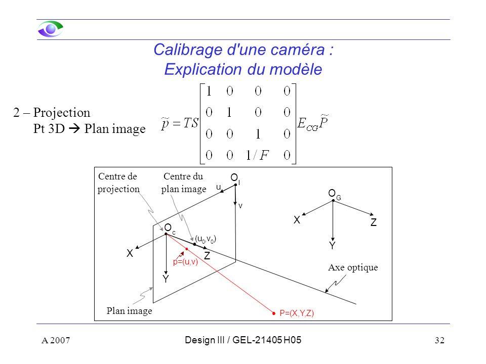 A 200732Design III / GEL-21405 H05 Calibrage d une caméra : Explication du modèle 2 – Projection Pt 3D Plan image Z Y X O c Z Y X O G (u 0,v 0 ) p=(u,v) P=(X,Y,Z) Centre de projection Axe optique Centre du plan image u v O I Plan image