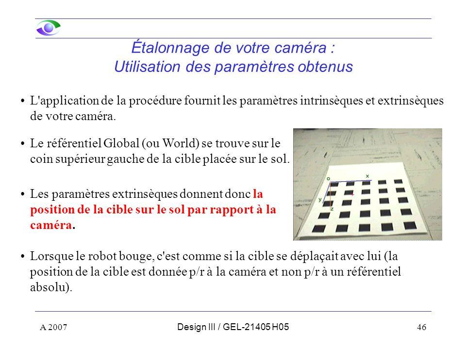 A 200746Design III / GEL-21405 H05 Étalonnage de votre caméra : Utilisation des paramètres obtenus L application de la procédure fournit les paramètres intrinsèques et extrinsèques de votre caméra.
