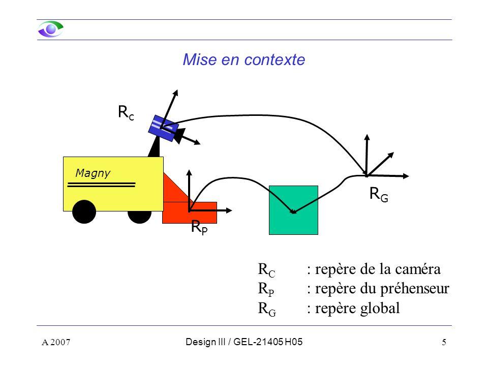 A 200756Design III / GEL-21405 H06 Plan de la présentation Notions de base –Fonctionnement d une caméra –Formation des images –Modèle pinhole –Coordonnées homogènes et transformées –Changements de repère Étalonnage d une caméra –Modèle utilisé –Procédure Utilisation des paramètres Utilisation des paramètres Calcul de la position des objets Calcul de la position du robot Calcul de la position du robot