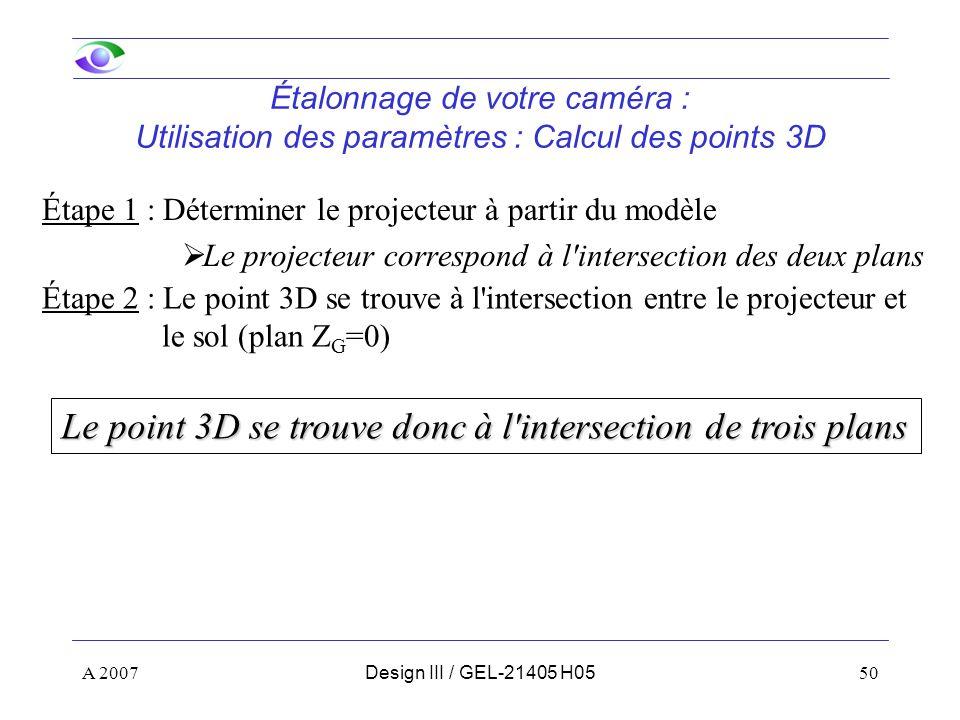 A 200750Design III / GEL-21405 H05 Étalonnage de votre caméra : Utilisation des paramètres : Calcul des points 3D Étape 1 : Déterminer le projecteur à partir du modèle Le projecteur correspond à l intersection des deux plans Le point 3D se trouve donc à l intersection de trois plans Étape 2 : Le point 3D se trouve à l intersection entre le projecteur et le sol (plan Z G =0)