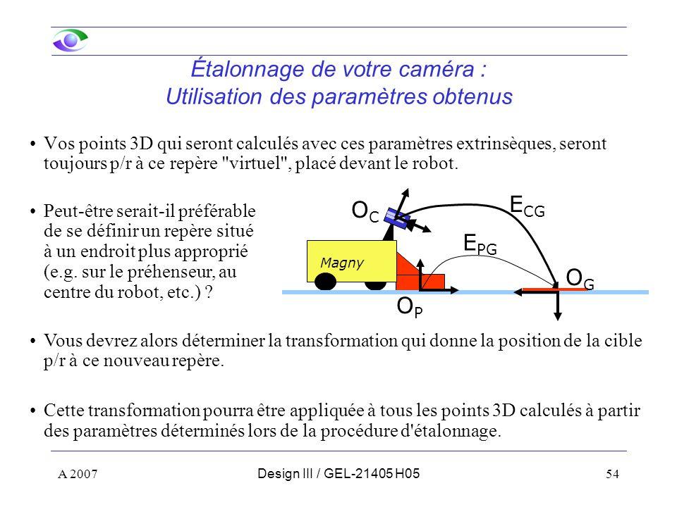 A 200754Design III / GEL-21405 H05 Étalonnage de votre caméra : Utilisation des paramètres obtenus Vos points 3D qui seront calculés avec ces paramètres extrinsèques, seront toujours p/r à ce repère virtuel , placé devant le robot.