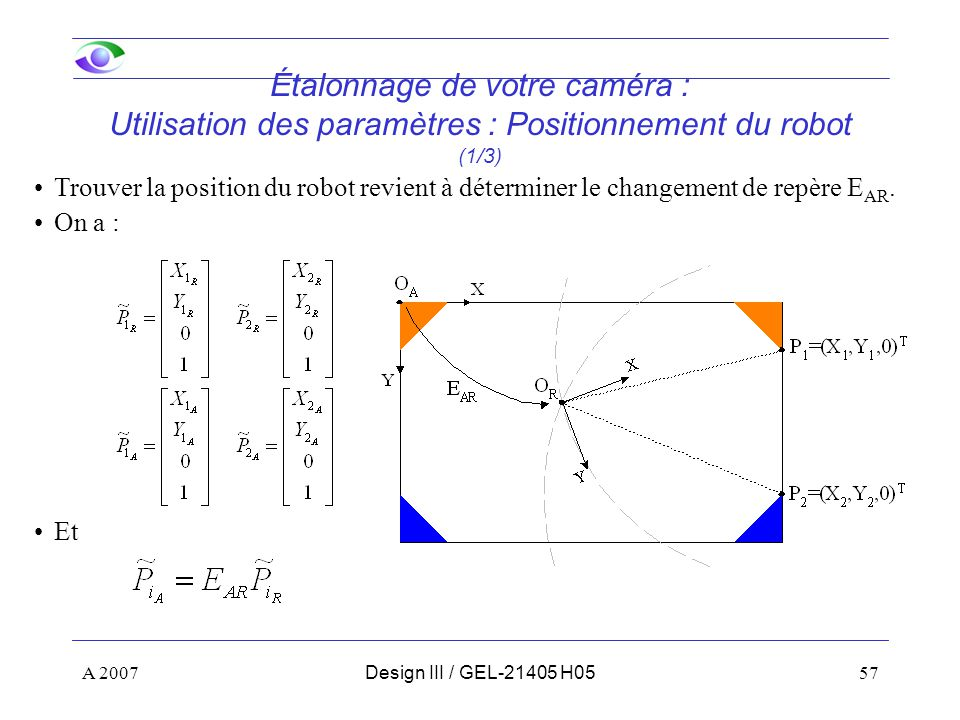 A 200757Design III / GEL-21405 H05 Étalonnage de votre caméra : Utilisation des paramètres : Positionnement du robot (1/3) Trouver la position du robot revient à déterminer le changement de repère E AR.