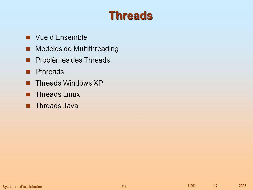 5.1 URDL22005 Systèmes dexploitation Threads Vue dEnsemble Modèles de Multithreading Problèmes des Threads Pthreads Threads Windows XP Threads Linux Threads Java
