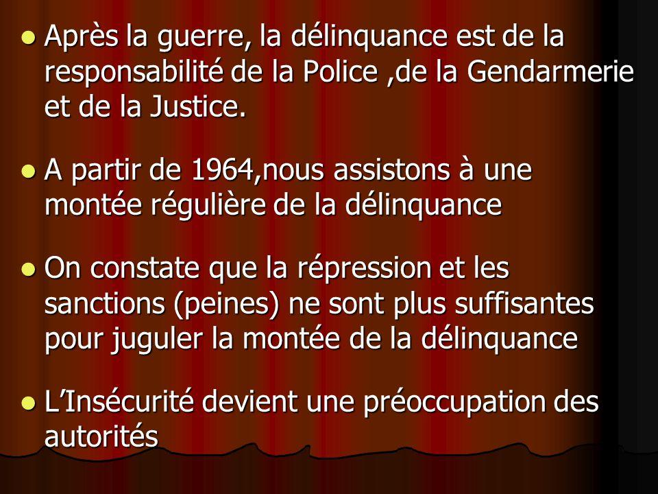 Après la guerre, la délinquance est de la responsabilité de la Police,de la Gendarmerie et de la Justice.