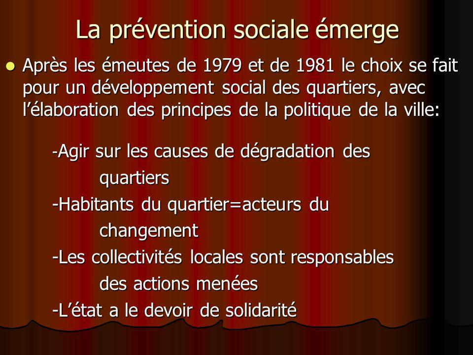 La prévention sociale émerge Après les émeutes de 1979 et de 1981 le choix se fait pour un développement social des quartiers, avec lélaboration des p