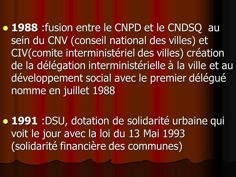 1988 :fusion entre le CNPD et le CNDSQ au sein du CNV (conseil national des villes) et CIV(comite interministériel des villes) création de la délégation interministérielle à la ville et au développement social avec le premier délégué nomme en juillet 1988 1988 :fusion entre le CNPD et le CNDSQ au sein du CNV (conseil national des villes) et CIV(comite interministériel des villes) création de la délégation interministérielle à la ville et au développement social avec le premier délégué nomme en juillet 1988 1991 :DSU, dotation de solidarité urbaine qui voit le jour avec la loi du 13 Mai 1993 (solidarité financière des communes) 1991 :DSU, dotation de solidarité urbaine qui voit le jour avec la loi du 13 Mai 1993 (solidarité financière des communes)