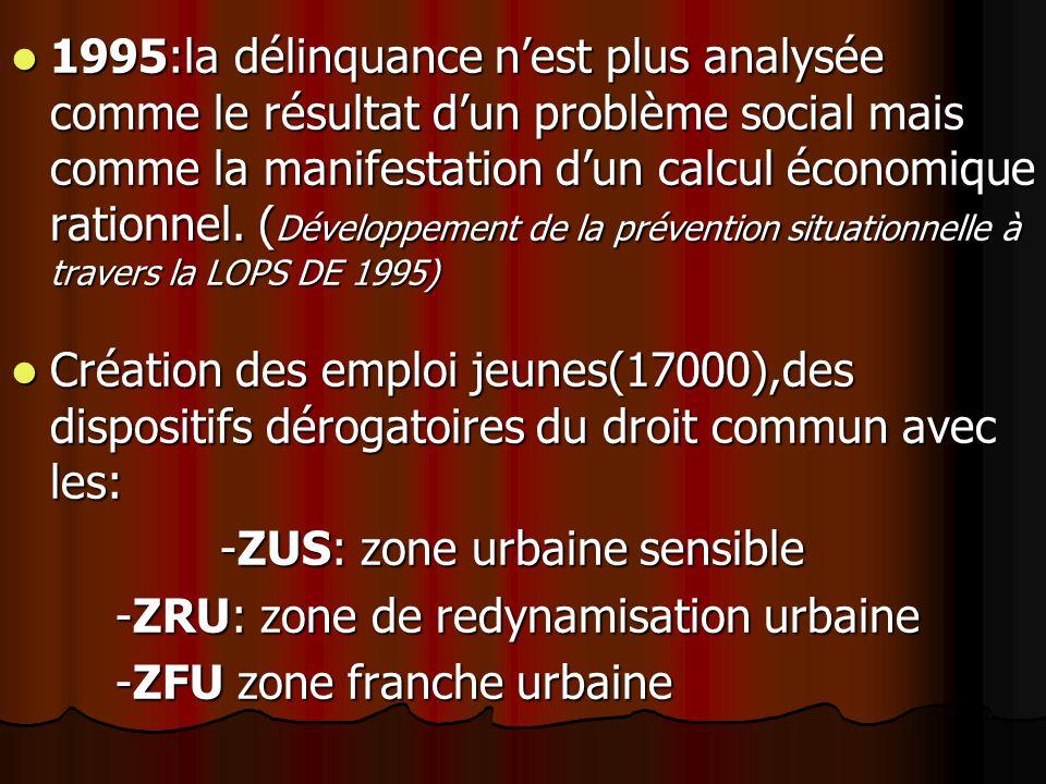 1995:la délinquance nest plus analysée comme le résultat dun problème social mais comme la manifestation dun calcul économique rationnel.