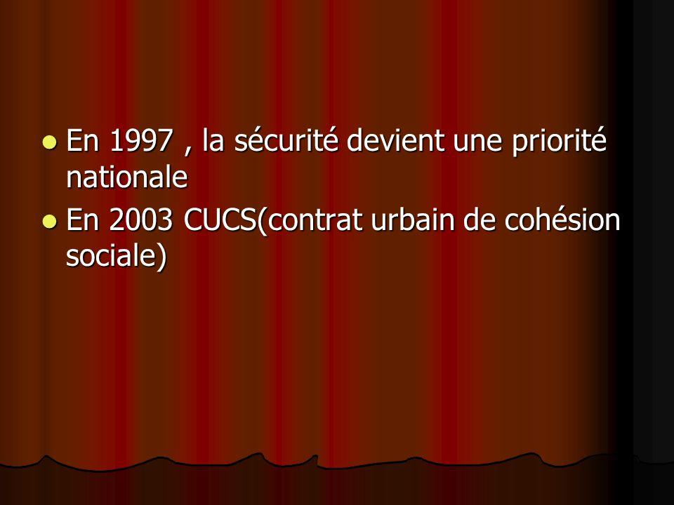 En 1997, la sécurité devient une priorité nationale En 1997, la sécurité devient une priorité nationale En 2003 CUCS(contrat urbain de cohésion sociale) En 2003 CUCS(contrat urbain de cohésion sociale)