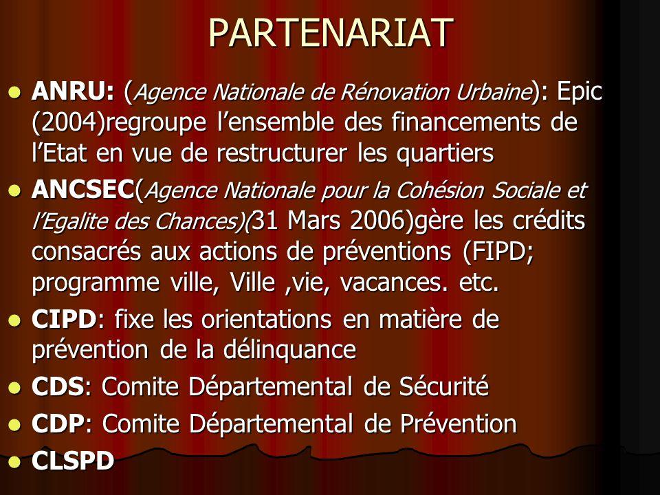 PARTENARIAT ANRU: ( Agence Nationale de Rénovation Urbaine ): Epic (2004)regroupe lensemble des financements de lEtat en vue de restructurer les quart