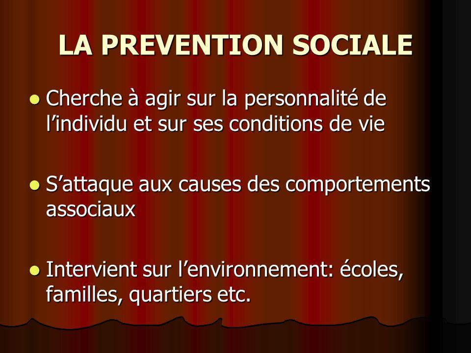 LA PREVENTION SOCIALE Cherche à agir sur la personnalité de lindividu et sur ses conditions de vie Cherche à agir sur la personnalité de lindividu et