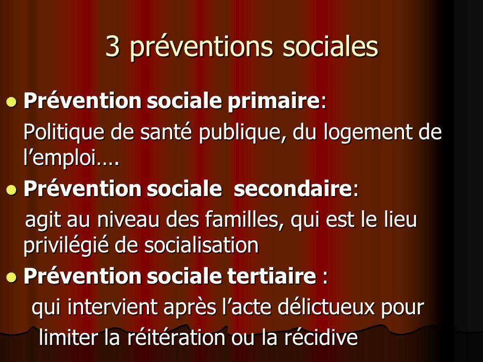 3 préventions sociales Prévention sociale primaire: Prévention sociale primaire: Politique de santé publique, du logement de lemploi…. Prévention soci