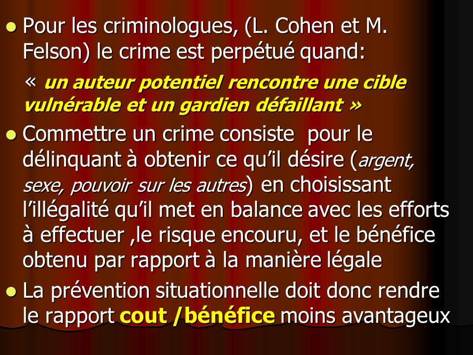 Pour les criminologues, (L. Cohen et M. Felson) le crime est perpétué quand: Pour les criminologues, (L. Cohen et M. Felson) le crime est perpétué qua