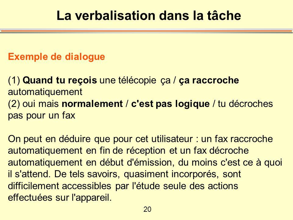20 La verbalisation dans la tâche Exemple de dialogue (1) Quand tu reçois une télécopie ça / ça raccroche automatiquement (2) oui mais normalement / c