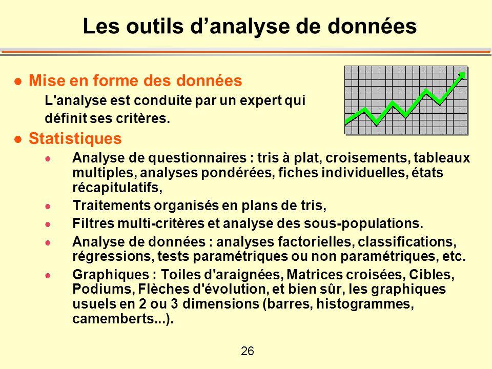 26 l Mise en forme des données L'analyse est conduite par un expert qui définit ses critères. l Statistiques Analyse de questionnaires : tris à plat,