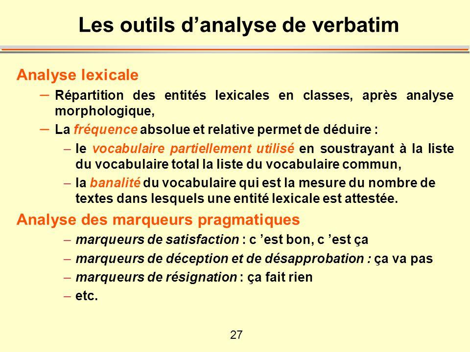 27 Les outils danalyse de verbatim Analyse lexicale – Répartition des entités lexicales en classes, après analyse morphologique, – La fréquence absolu
