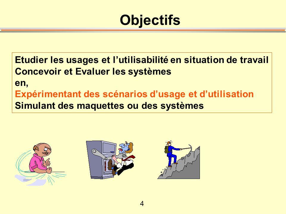 4 Objectifs Etudier les usages et lutilisabilité en situation de travail Concevoir et Evaluer les systèmes en, Expérimentant des scénarios dusage et dutilisation Simulant des maquettes ou des systèmes